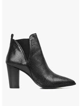 Boots Cuir à Talons Imprimé Reptile Noir by Jonak