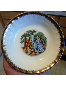 """Vintage Cronin China Co """"Courting Couple"""" Set Of 6 Small Bowls by Cronin China Co"""