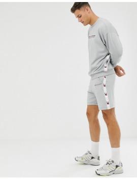 Tommy Sports Logo Taping Crewneck Sweatshirt In Grey Marl by Tommy Hilfiger