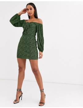 Asos Design Mini Ditsy Print Plisse Dress With Knot Front by Asos Design