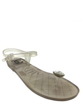 Clear Jelly Diamond Beach Sandals by Chanel