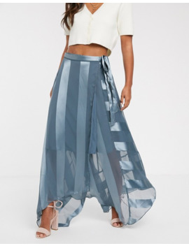 Asos Design Satin Stripe Wrap Midi Skirt With Tie Waist by Asos Design