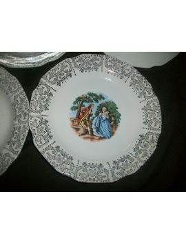 Nasco Royal Colonial 22 Kt Gold Victorian Courting Couple Small Plates Set Of 6 by Ebay Seller