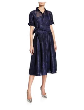 Short Sleeve Belted Burnout Jacquard Shirtdress by Rickie Freeman For Teri Jon