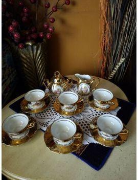 Bareuther Waldsassen Bavaria 22 K Gold Porcelain Demitasse Tea Set Courting Couple by Ebay Seller