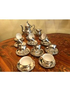 11 Silver Plated Coffee Cup And Saucer Set Rw Bavaria Dekor Feinsilber Porcelain by Ebay Seller