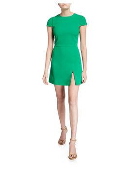 Maya Short Sleeve Asymmetric Zip Mini Dress by Alice + Olivia