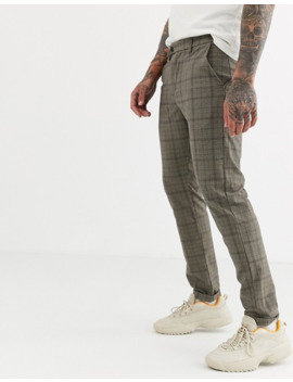 Jack & Jones Slim Fit Stretch Check Pants In Gray by Jack & Jones