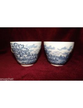 Lot 2 Vintage Blue & White Tea Coffee Cups Mugs Made In England Country Scene by Ebay Seller
