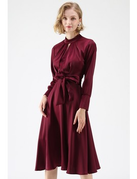 Grab The Spotlight Bowknot Satin Dress In Wine Classy Open Front Knit Coat In Olive Grab The Spotlight Bowknot Satin Dress In Green Classy Open Front Knit Coat In Light Tan Cotton Candy Sheer Maxi Dress In Cream by Chicwish