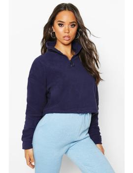 Fleece Zip Front Sweater by Boohoo