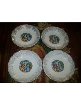 Nasco Royal Colonial 22 Kt Gold Victorian Courting Couple Coffee Saucers Set 4 Pc by Ebay Seller