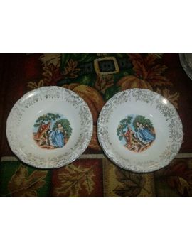 Nasco Royal Colonial 22 Kt Gold Victorian Courting Couple Berry Bowls Set 6 Pc by Ebay Seller