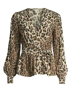 Arin Leopard Print Faux Wrap Blouse by Joie