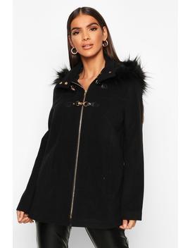 Faux Fur Trim Wool Look Duffle Coat by Boohoo