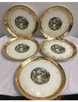 """Lot Of 5 Crest O Gold Sabin Dinner Plate Warranted 22 K Courting Couple 10 1/8"""" by Sabin"""