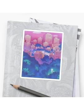 Sailor Moon Pink City Dream Landscape  Sticker by Freshfroot
