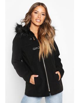 Petite Faux Fur Trim Wool Look Duffle Coat by Boohoo