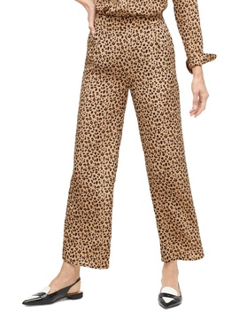 Leopard Print Relaxed Pull On Crop Pants by J.Crew