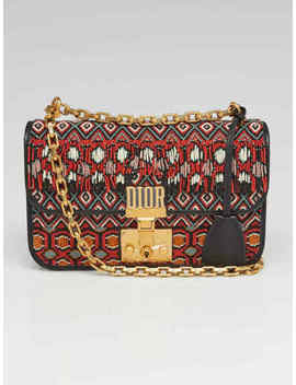 Christian Dior Black Calfskin Leather Multicolor Beaded Dioraddict Chain Shoulde by Christian Dior