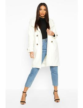 Belted Double Breasted Wool Look Trench Coat by Boohoo
