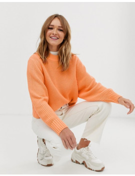 Monki Crew Neck Jumper In Peach by Monki