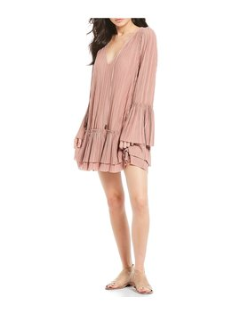 Can't Help It Bell Sleeve Pleated V Neck Ruffle Tiered Mini Dress by Free People