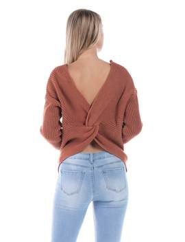 Salt Tree Women's Loose Fitting V Neck Long Sleeve Knitted Sweater by Style Melody
