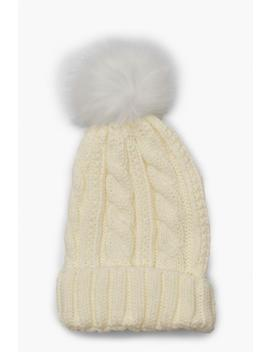 Cable Knit Faux Pom Beanie by Boohoo