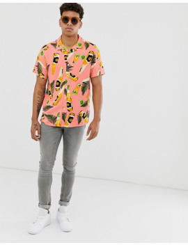 New Look Shirt In Pink Bottle Print by New Look