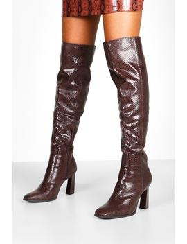 Snake Interest Heel Over The Knee Boots by Boohoo