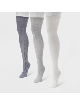 Muk Luks Women's 3pk Cable Knit Over The Knee Socks   White/Gray One Size by Muk Luks