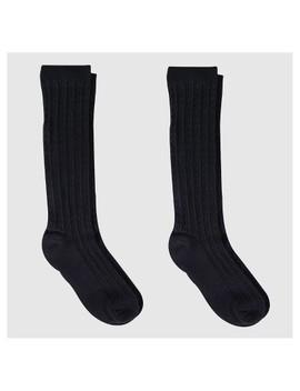Girls' Knee High Socks 2pk   Cat & Jack™ Black by Cat & Jack
