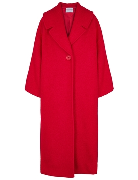Red Oversized Bouclé Knit Coat by Mariam Al Sibai