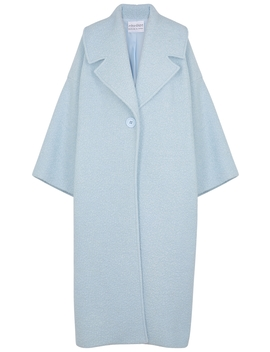 Blue Oversized Bouclé Wool Blend Coat by Mariam Al Sibai