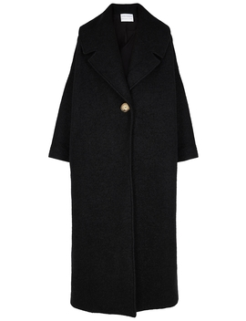 Black Oversized Bouclé Wool Blend Coat by Mariam Al Sibai