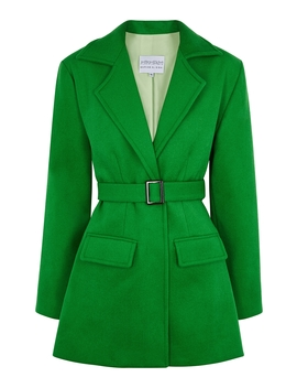 Green Belted Wool Jacket by Mariam Al Sibai