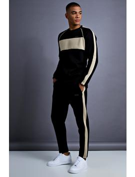 Man Skinny Fit Sweater Panelled Tracksuit by Boohoo