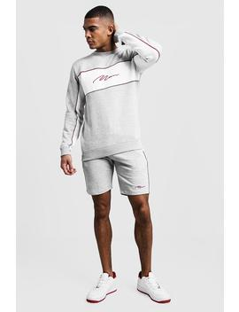 Man Signature Contrast Panel Short Tracksuit by Boohoo