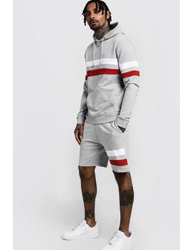 Contrast Panel Hooded Short Tracksuit by Boohoo