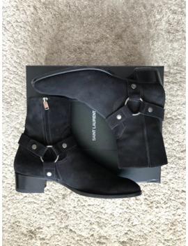 Saint Laurent Paris Wyatt Harness Boots Black Suede by Saint Laurent Paris  ×