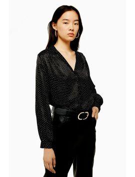Tall Scallop Satin Shirt by Topshop