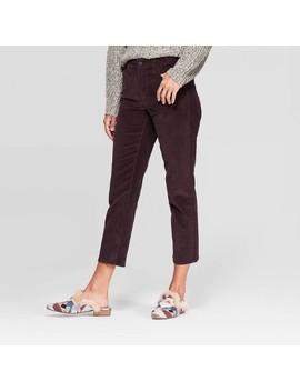 Women's Corduroy High Rise Straight Jeans   Universal Thread™ Burgundy by Universal Thread