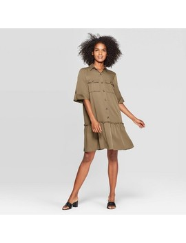Women's Collared A Line Mini Dress   Who What Wear™ Green by Who What Wear