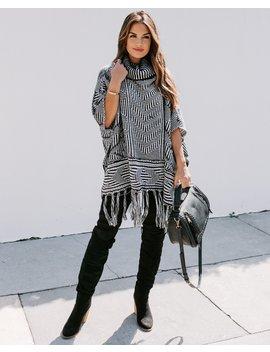 Becky Turtleneck Fringe Poncho Sweater by Vici