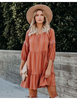 Mollie Cotton Blend Pocketed Embroidered Dress   Rust by Vici