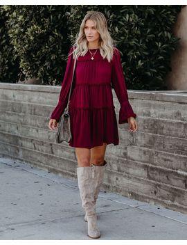 Vega Crochet Tiered Babydoll Dress   Wine by Vici