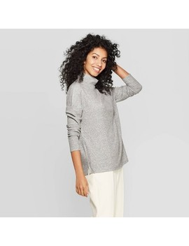 Women's Long Sleeve Turtleneck Rib Drapey Top   A New Day™ by A New Day
