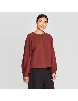 Women's Puff Long Sleeve Crewneck Sweatshirt   Prologue™ Red by Prologue