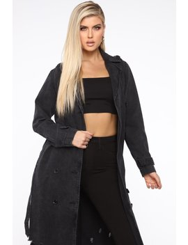 Putting An End To It Denim Trench Coat   Black by Fashion Nova